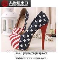 2015 flag high heel cool sandals wholesale new design ladies summer high heel sandals The American flag shoes stars high heels