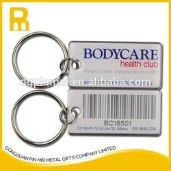 2015 Scannable metal barcode printing epoxy protection key tags/ key fob/ key ring