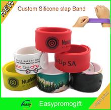 logo printed silicone slap band bracelet