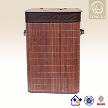 Folding Bamboo dark brown wicker laundry basket and Cotton Liner