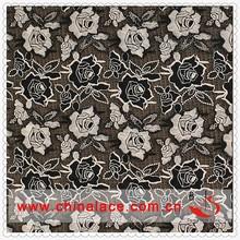 Negro tela del cordón de poliéster por el patio, Tela del cordón del Vintage