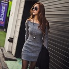 Wholesale latest designs picture sexy slim fit dress of winter women smart casual off-shoulder dress long sleeve