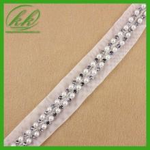 Caliente de la venta del bordado de perlas y diamantes de imitación del grano adorno para el vestido kk-1951