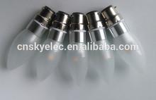 Made in china candle led lamp 85-265v B22 base 36*104mm Aluminum body candle led bulb