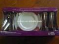 Pc-12 talheres descartáveis louça pratos e placas conjunto