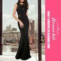 La moda de nueva venta al por mayor elegante mujeres negro de malla Sexy vestido de noche largo