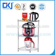 Hkj-b051 de metal cromo plateado acero inoxidable estante de la cocina de 3- nivel multifuncional
