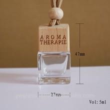 car perfume bottle pendant, 5ml glass bottle+wooden cap Simple style car ornaments