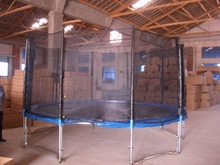 spring round trampoline bed with safety net for hot sale