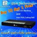 Promoción- comprar 10 obtener 1 gratis!! La rotación ejoin gateway goip 8/16/32 voip gsm gateway, sim gsm gateway de la caja