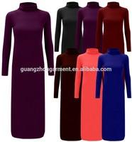2015 Hot Sale Spring Womens TurtleNeck Curve Long Sleeve Jersey Ladies Bodycon Midi Dress