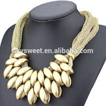 dubai gold jewelry new model, matt gold pave chain link necklace