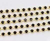 gold backing SS14 rhinestone black cup chain
