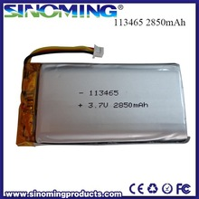 3.7v li-ion polymer battery 113465 with 3.7V 2850mah capacity