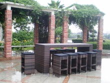 Garden Outdoor Rattan/Wicker Bar table and chair Furniture Woven Furniture