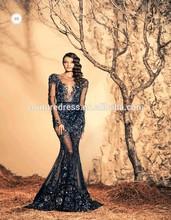 Ziad nakad Flower Crystal Appliqued See Through Royal Blue Dress Mermaid Sexy Long Sleeve Evening Dress 2015 Turkey Ze-603