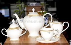 Elegance golden design durable russia style bone china dinner set