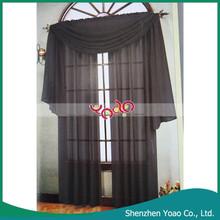 Bedroom 37*216cm Black Polyster Decorative Window Panel Curtain