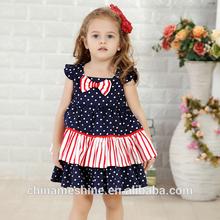 MS61657C girl party dress double deck girls dress polka dots