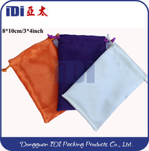 2014 Fashion drawstring satin bag,satin pouch in packing bag