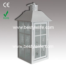 White moroccan decorative outdoor distressed hanging led candle lantern