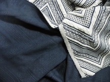 The kintting jacquard denim blue and white fabric