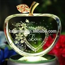 Design discount laser crystal apple wedding gift