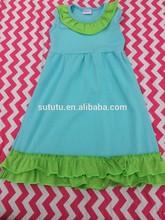 2014 pretty promotional beach dress for girls casual sleeveless floral ruffled summer cotton dress