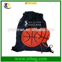 fashion polyester basket ball shaped drawstring bag