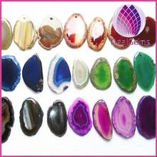 Wholesale different colors natual druzy agate slice pendant