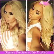 qingdao top beauty 2015 New arrival hot sale long brazilian glueless lace front 613 blonde wig