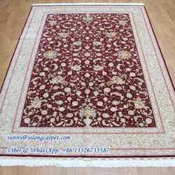 Red 2x3m double knots flower design silk wool oriental rugs
