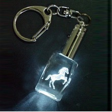 engraved 3d crystal horse key chain MH-5011
