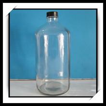 1liter clear glass bottle plastic or metal screw lid
