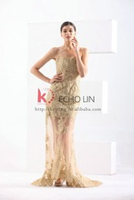 Elegant 2015 New Style Wedding Gold Evening Dress Latest Formal Dress Patterns