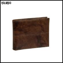 New mens casual full grain handmade black leather wallet