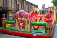 cartoon bears theme inflatable theme park amusement jumping bouncer slide