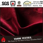 Permanently flame retardant heavy weight Velours Paris red stage curtain fabric