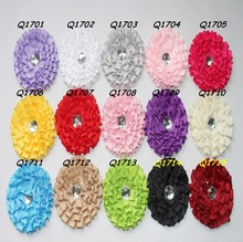 Artifical 8cm Ribbon Fabric Flower With Rhinestones For Decoration