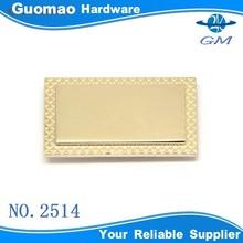 Custom rectangular brand metal handbag logo tag plate label