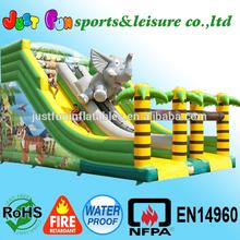 giant elephant jungle dry slide, dual slides inflatables, inflatable dry slide