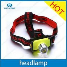 Plastic battery operated high power LED headlamp flashlight waterproof headlamp