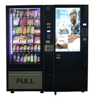 Combo coffee and drink vending machine with temperature adjustable