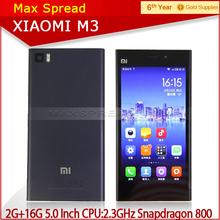 "Xiaomi Mi3 M3 SmartPhone Qualcomm 800 CPU 2.3GHz Quad Core Android Phone 5.0"" FHD 441PPI 13.0Mp Camera WCDMA/GSM"