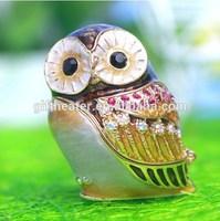 Mini Fashion Alloy Metal Owl Shape Animal Trinket Box Jewelry Box