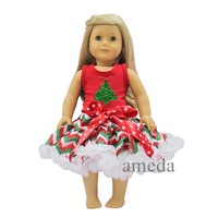 """18"""" American Girl Doll Christmas Tree Red Tank Top with Red Green White Chevron Pettiskirt"""