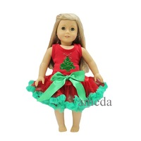 """18"""" American Girl Doll Christmas Tree Red Tank Top with Red Green Pettiskirt"""
