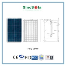 High efficiency Solar Generator for Homes 250w poly solar panel for solar power system home system with TUV/PID/CEC/CQC/IEC/CE