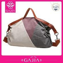 summer fresh style color striped canvas handbags