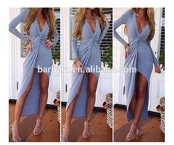 Fashion swallow tail deep V Ladies long dress hot selling